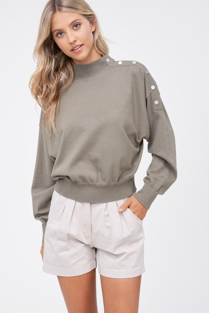 Button Detail Mock Neck Sweater
