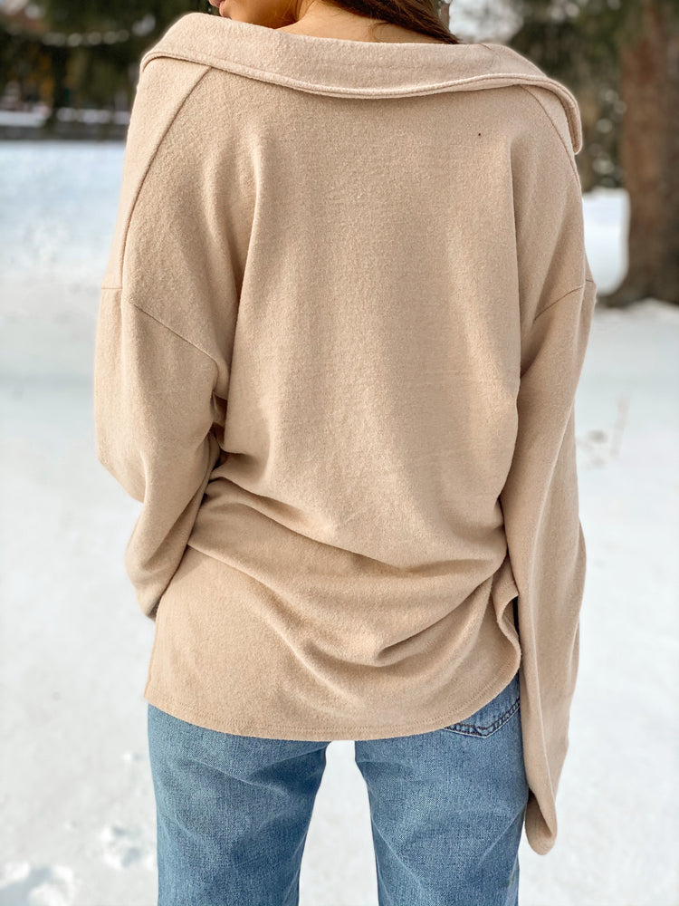 Long Sleeve Low V Slit Top