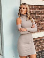 Ribbed One Shoulder Turtleneck Dress