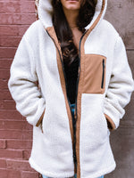 Sherpa Hooded Coat with Front Pocket