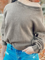Long Sleeve Garment Dyed Thermal Knit Top