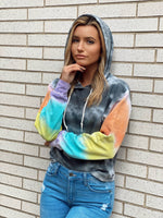 Color Block Cropped Raw Edge Hoodie