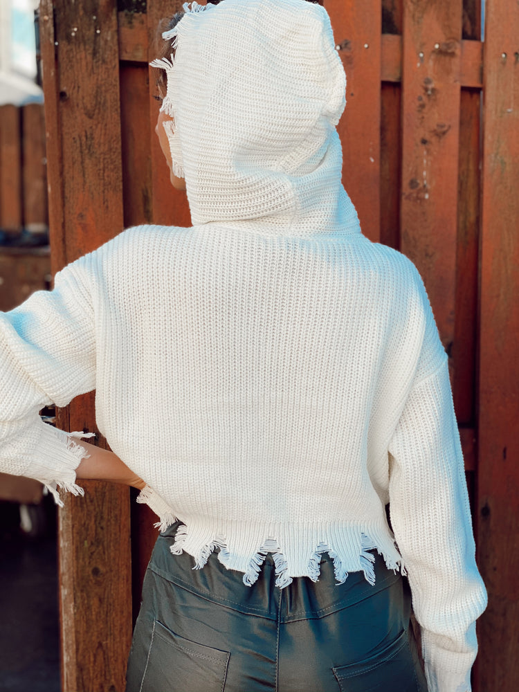 Distressed Hooded Crop Sweater
