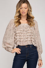 Smocked Long Sleeve Spot Printed Woven Ruffle Top
