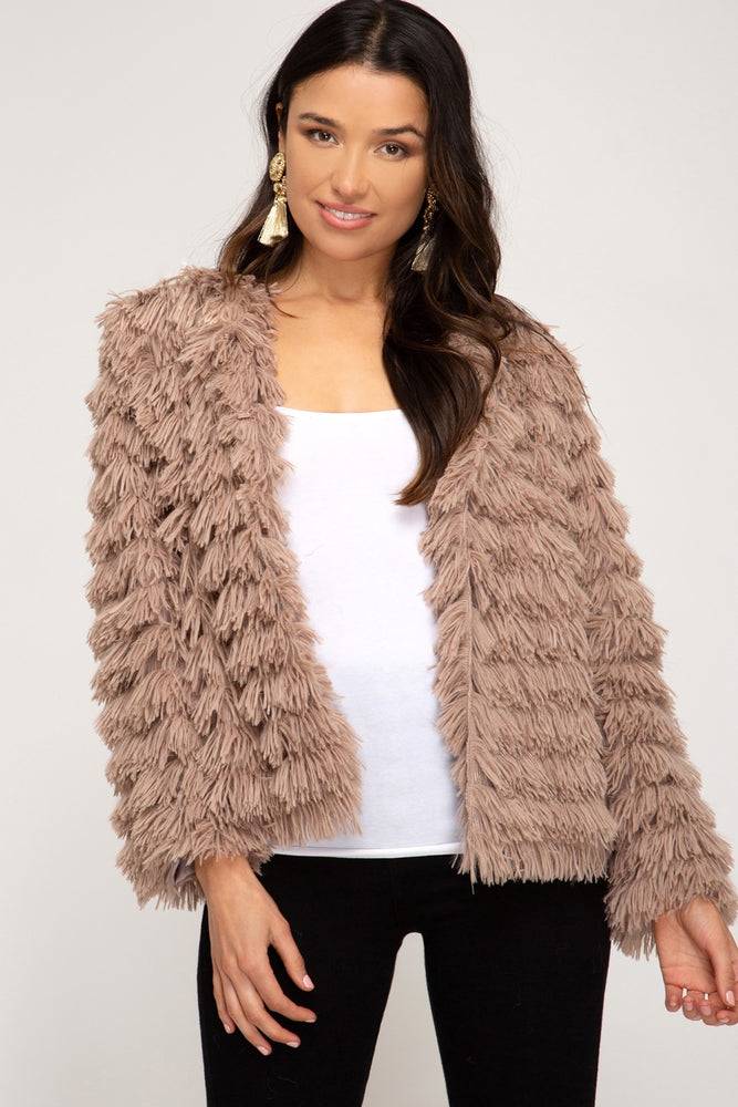 Long Sleeve Layered Faux Fur Jacket