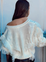 V Fringe Sweater