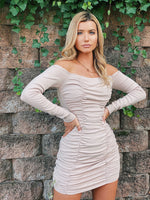 Long Sleeve Off Shoulder Ruched Dress