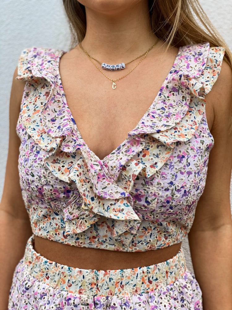 Floral Eyelet Crop Top With Ruffle