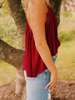 Lace Detail Flowy Tank Top