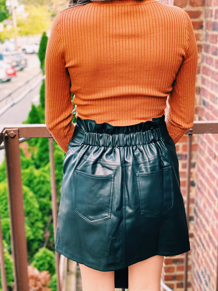 Leather Button Up Skirt