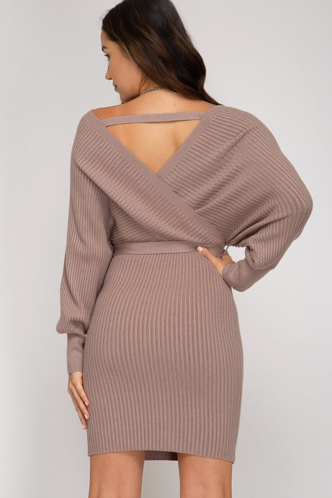 Long Sleeve Low V Ribbed Dress