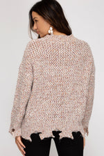 Long Sleeve Multi Colored Distressed Sweater