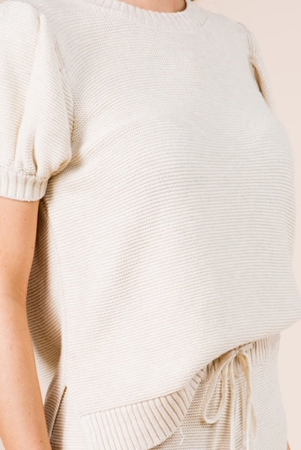 Short Sleeve Puff Shoulder Knit Sweater