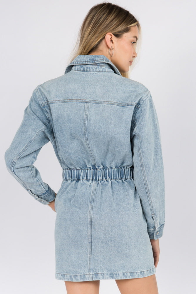 Long Sleeve Denim Zipper Dress
