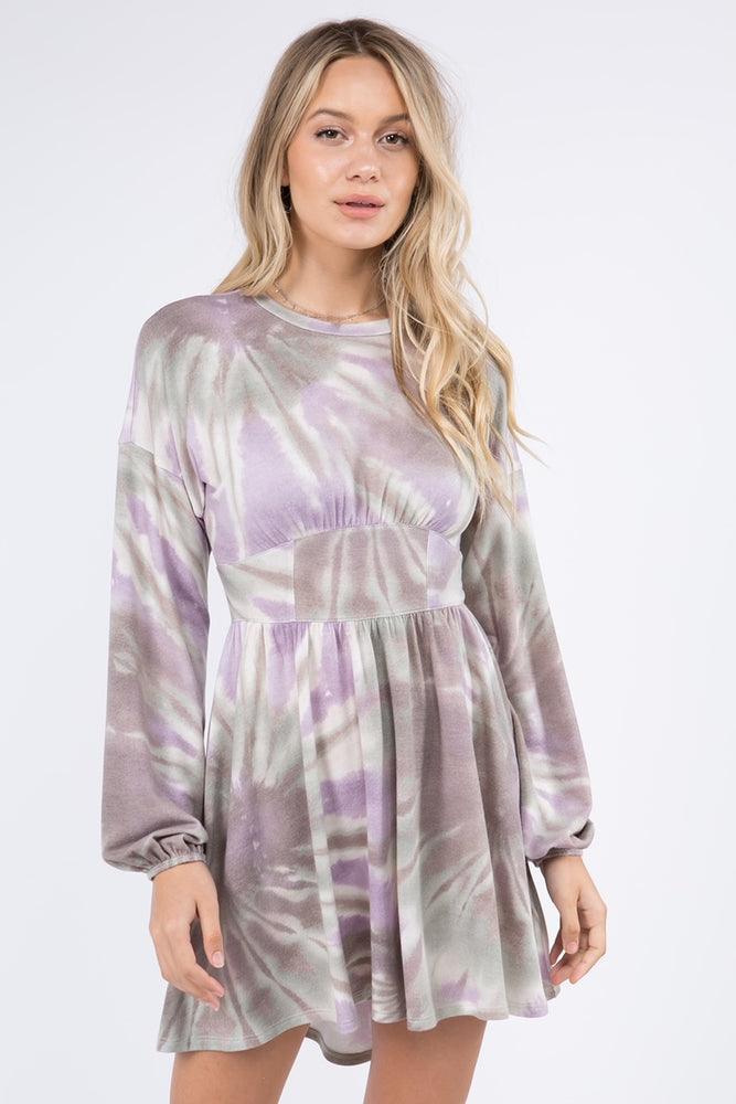 Long Sleeve Tie Dye Dress