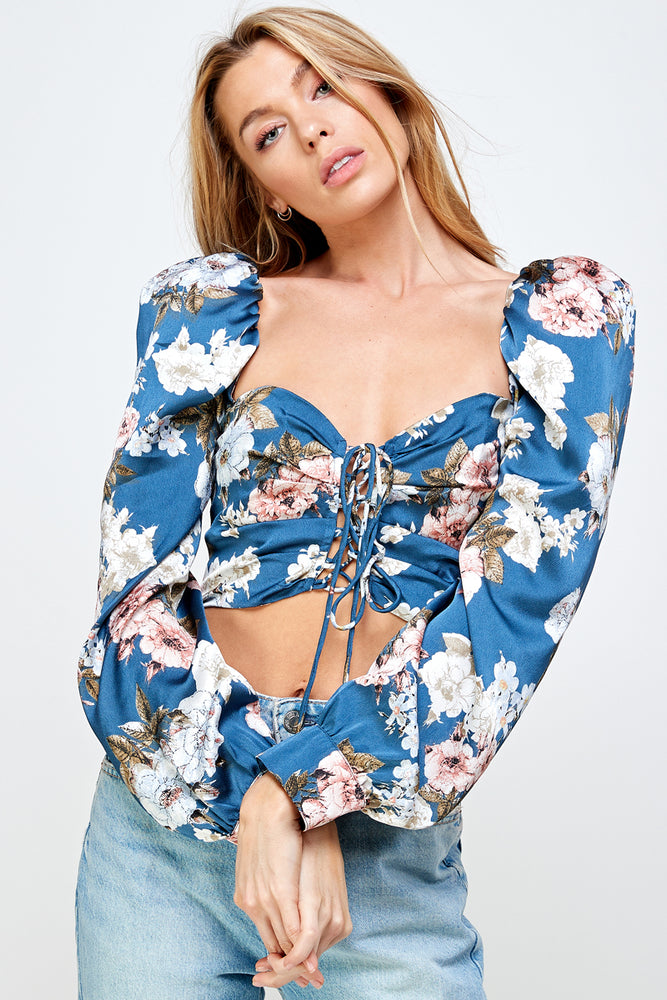 Long Sleeve Puff Lace Up Floral Crop Top
