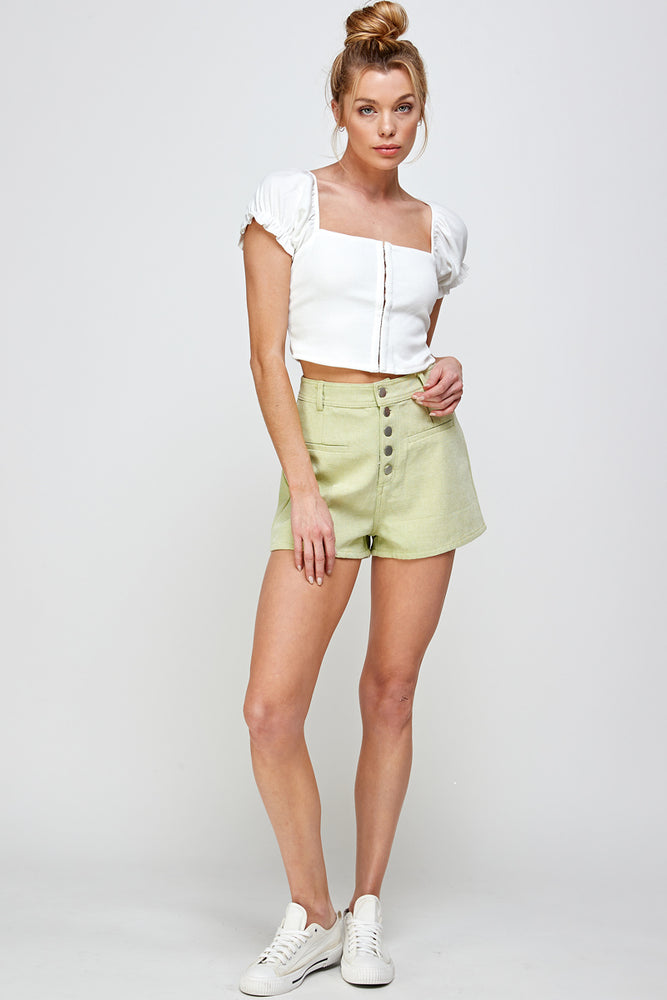 Rib Hookeye Short Sleeve Crop Top