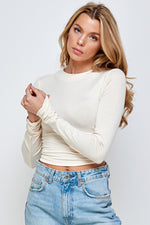 Long Sleeve Crop Top With Open Back