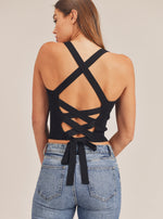 Back Lace Up Detail Sleeveless Knit Top