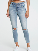 High Rise Distressed Knee Cropped at Ankle Jeans