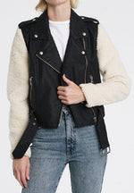 Sherpa Sleeve Faux Leather Moto JKT