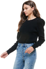 Round Neck Puff Sleeve Ribbed Sweater