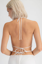 Satin Cowl Neck Open Back Halter Crop Top With Back Tie