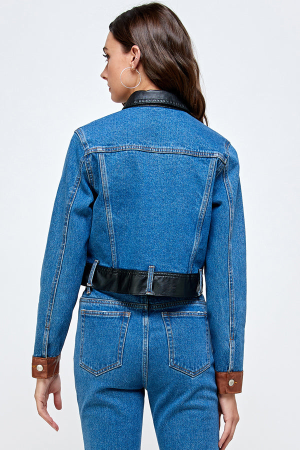 Denim Faux Leather Color Block Jacket