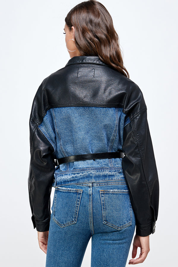 Denim Leather Mix JKT