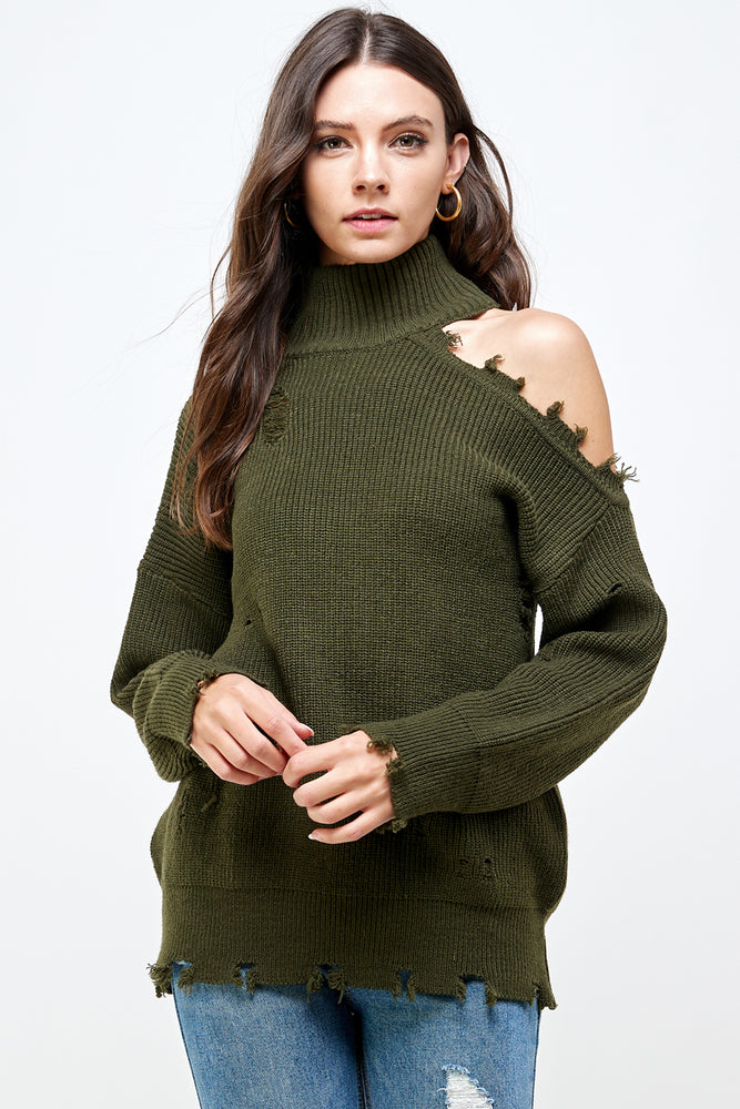 distressed open shoulder sweater