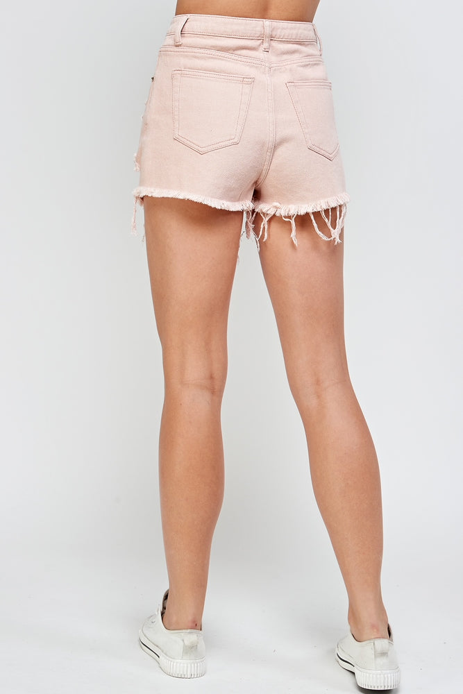 Contrast Stitch Destroyed Shorts