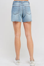 Mid Rise Destroyed Denim Short