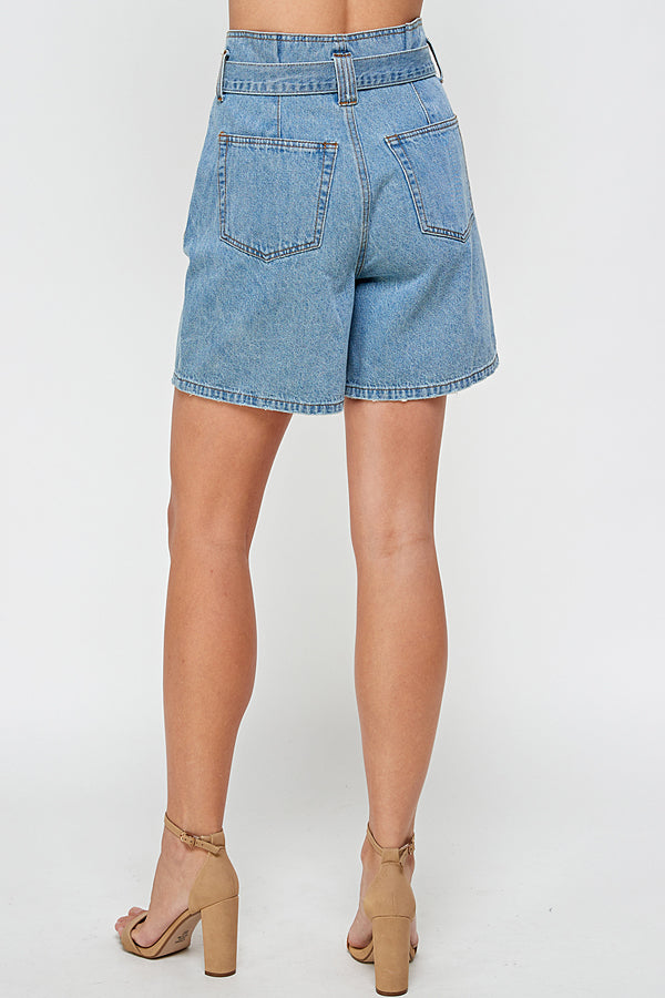 High Waisted Denim Bermuda Short