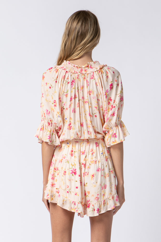 Floral Short Sleeve Button Front Romper