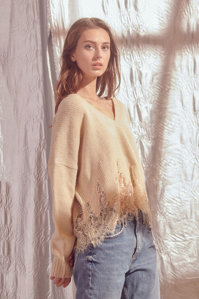 l/s v neck lace bottom sweater