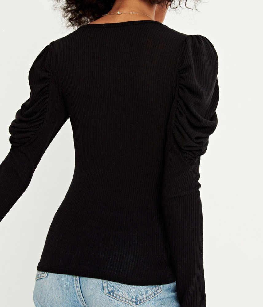 Long Bubble Sleeve V Neck Top