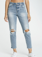 High Rise Destroyed Knee Cropped Ankle Jean