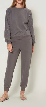 Embroidered Jogger Pant With Quilting Detail