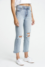 high rise button front ripped knee crop flare jean