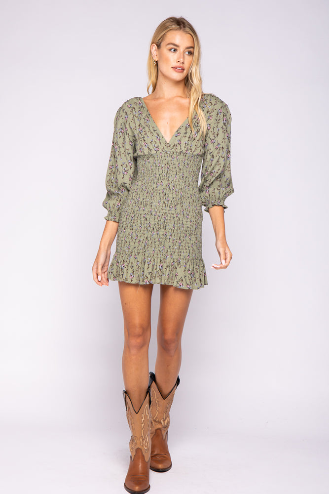 Floral Smock 3 Quarter Sleeve Dress
