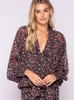 Long Sleeve Blouse Top Floral Dress