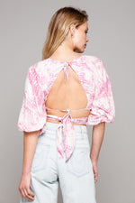 Deep V Front Tie Blouse With Open Back