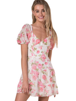 Short Sleeve Tie Back Floral Corset Dress With Open Back