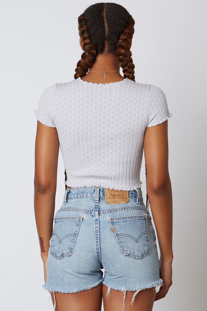 Eyelet Ruffle Trim Short Sleeve Crop Top