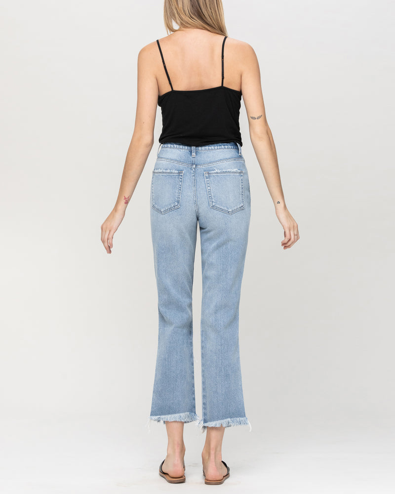 Super High Rise Distressed Fray Hem Jeans