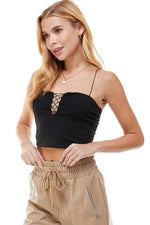 Lace Up Front Cropped Cami