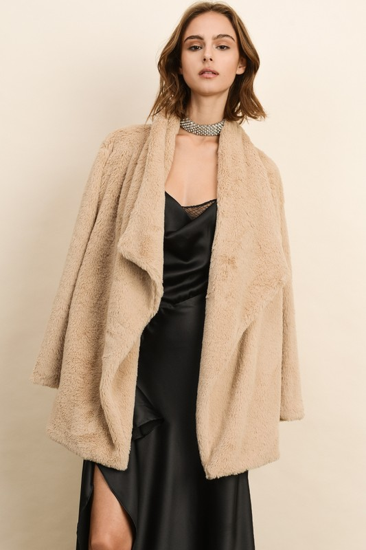 Faux Fur Open-Front Coat