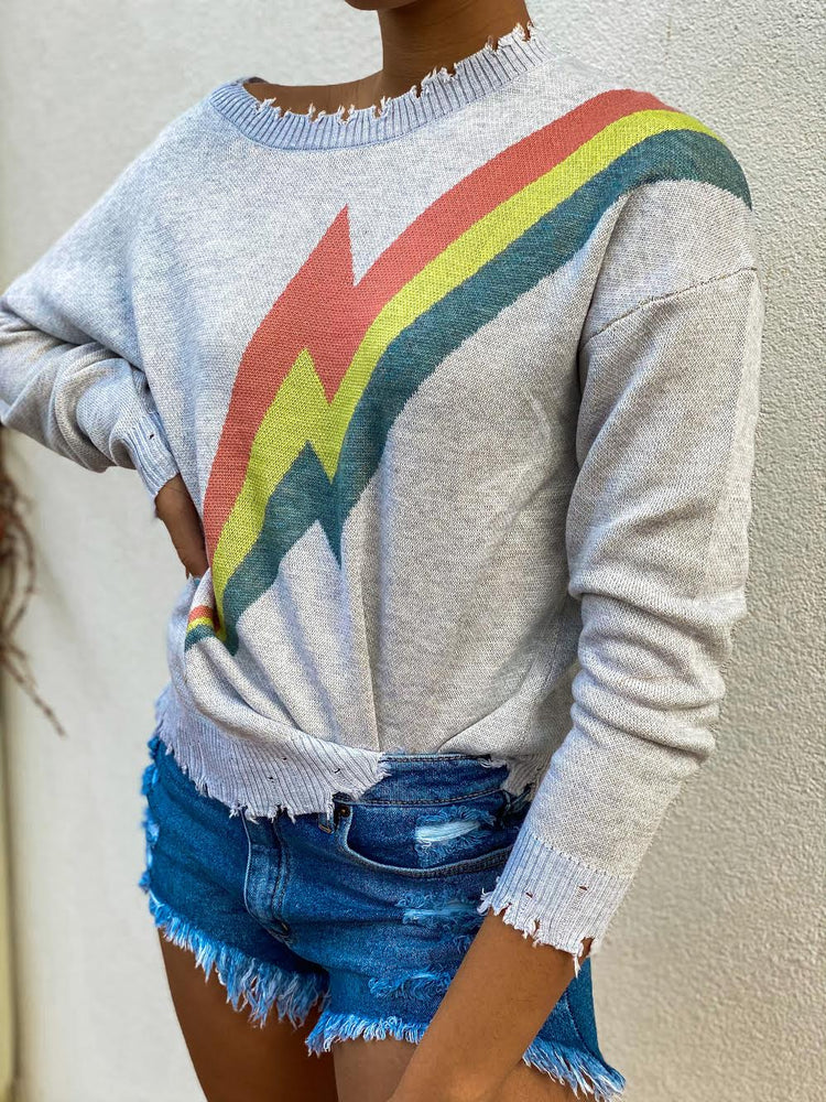 Lightning Bolt Distressed Sweater