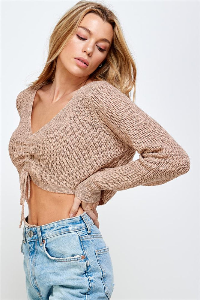 Front Drawstring  Sweater Top