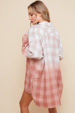 Plaid Ombre Oversized Shirt Dress